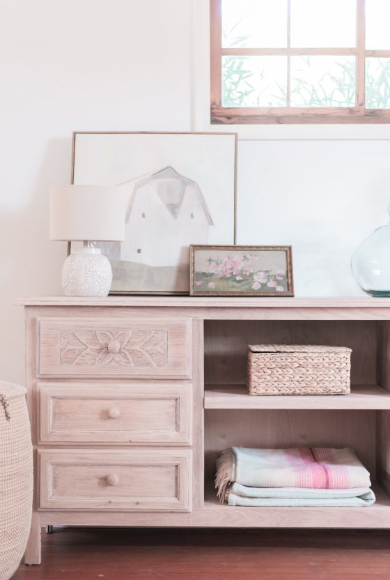 A Cottage-Perfect Natural, Pickled Wood Dresser Makeover
