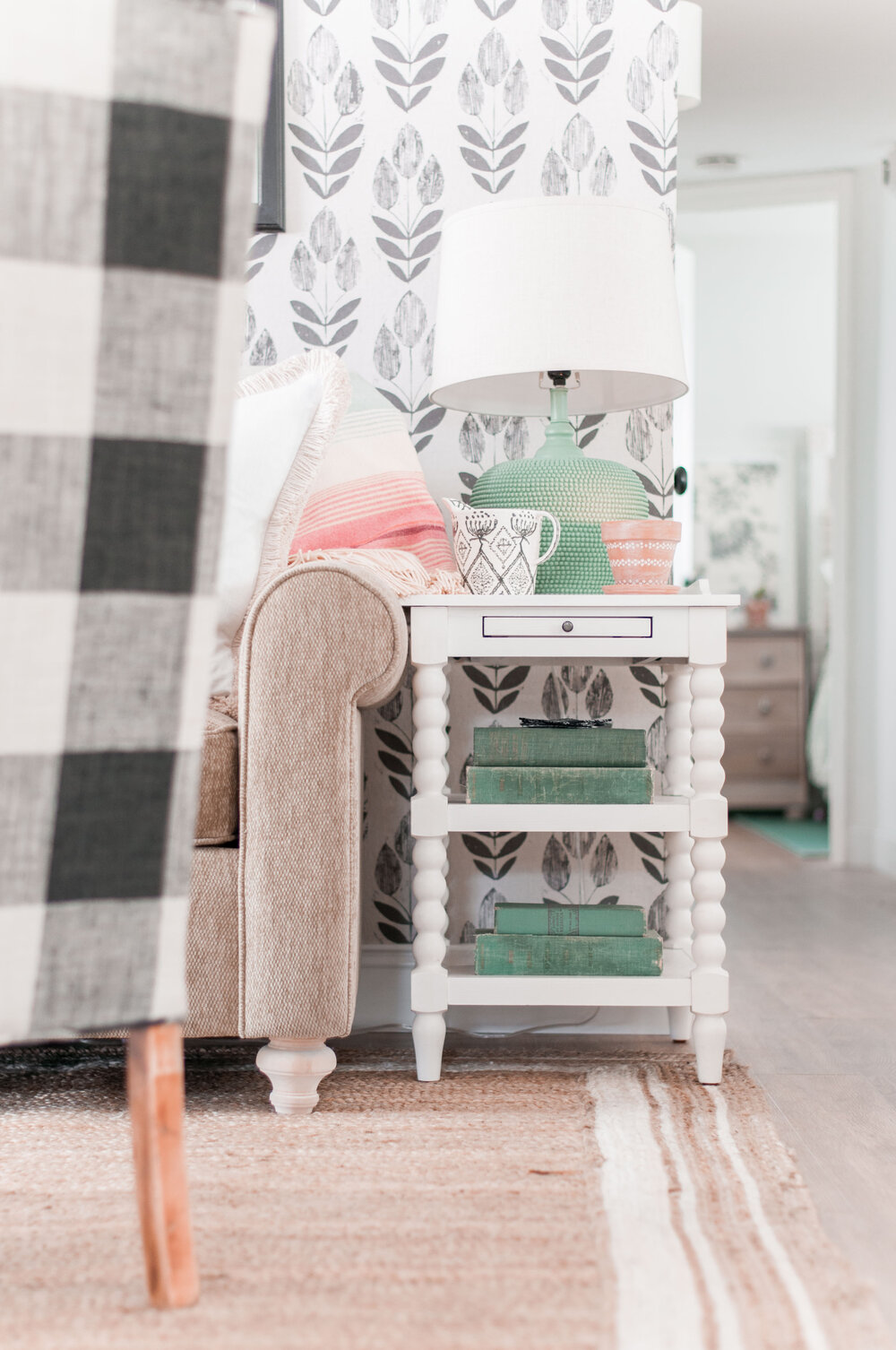 Most Popular Cottage Style Home Decor Finds featured by top US home decor blog, Love and Specs: White Jenny Lind Style Side Table