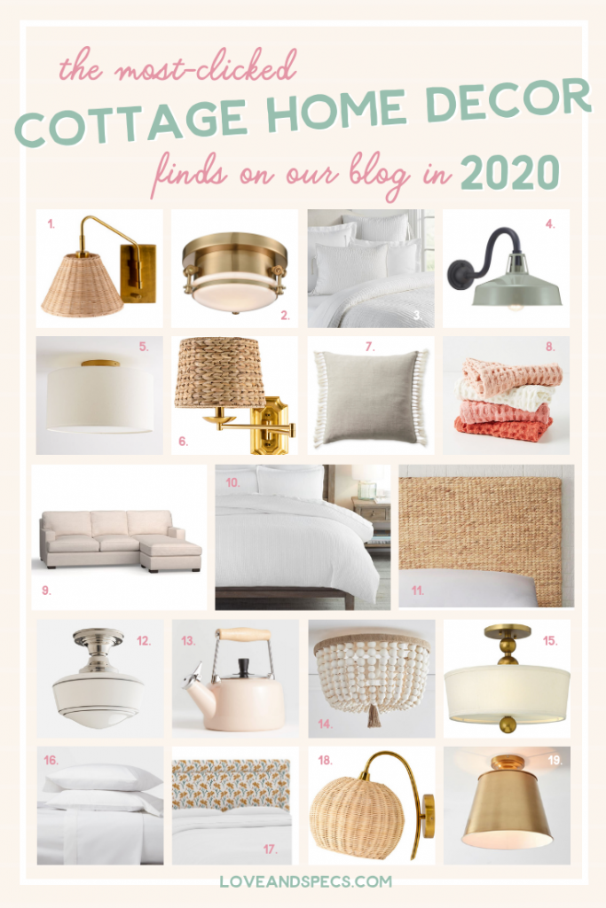 Cottage Style by popular Phoenix life and style blog, Love and Specs: collage image of cottage style lights, furniture, bedding, and home accessories.