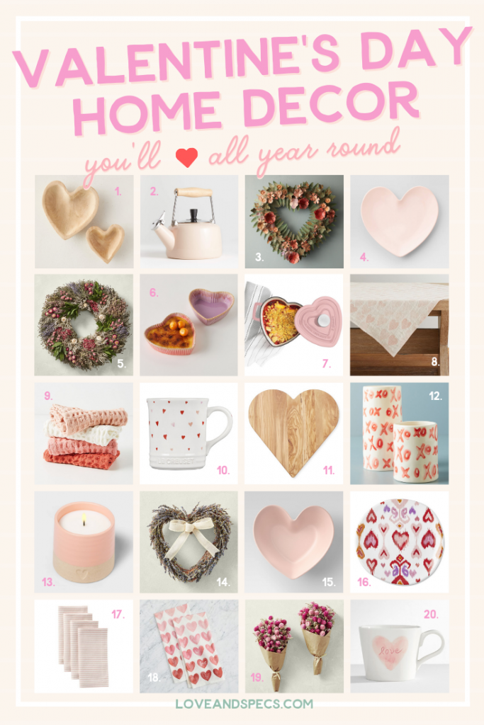 Valentine's Day Home Decor by popular Phoenix life and style blog, Love and Specs: collage image of floral wreaths, pink tea pot, heart shaped plates, pink dish towels, heart print mug, XO ceramic vase, heart shaped cutting board, heart print tea towels, floral bouquets, heart print table runner, and white love mug.