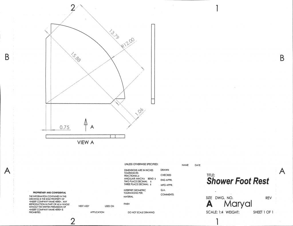 Corner Shower Foot Rest by popular Phoenix life and style blog, Love and Specs: image of installations instructions for a corner shower foot rest.