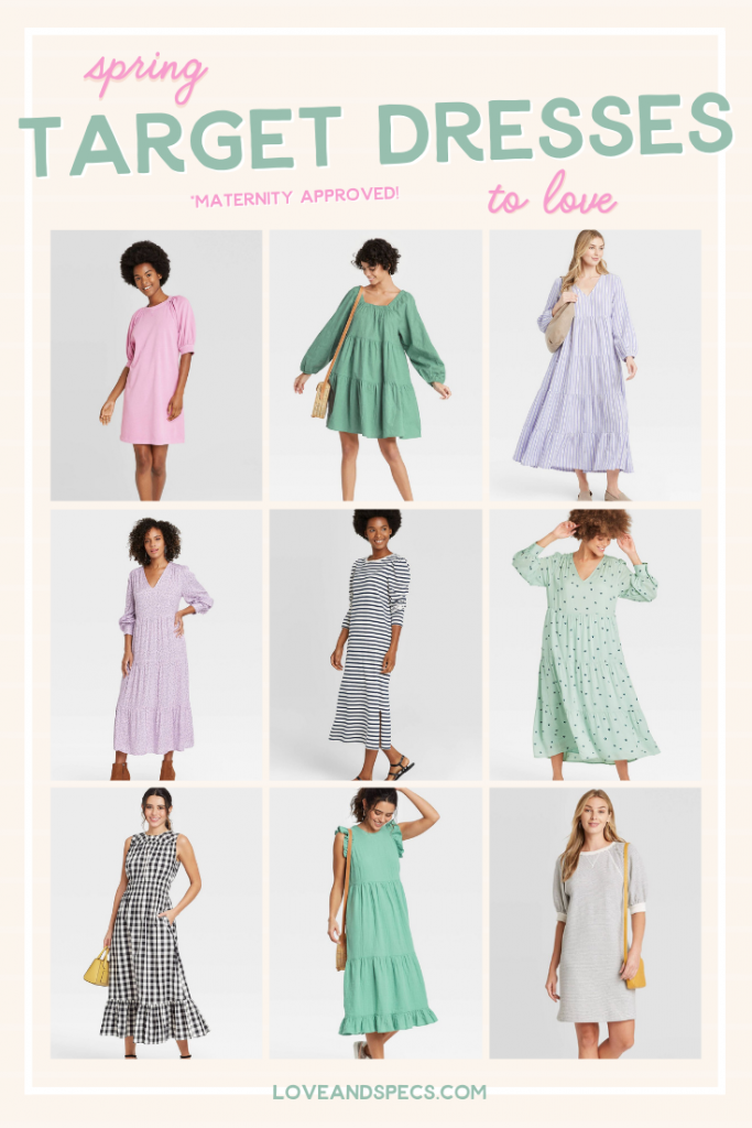 Target Spring Dresses by popular Phoenix fashion blog, Love and Specs: collage image of a Target Pink T-Shirt Dress, Green Tiered mini dress, lavender striped tiered midi dress, pink & purple floral tiered midi dress, striped t-shirt midi dress, mint tiered midi dress, Gingham smocked waist dress, sleeveless tiered midi dress, striped t-shirt dress.