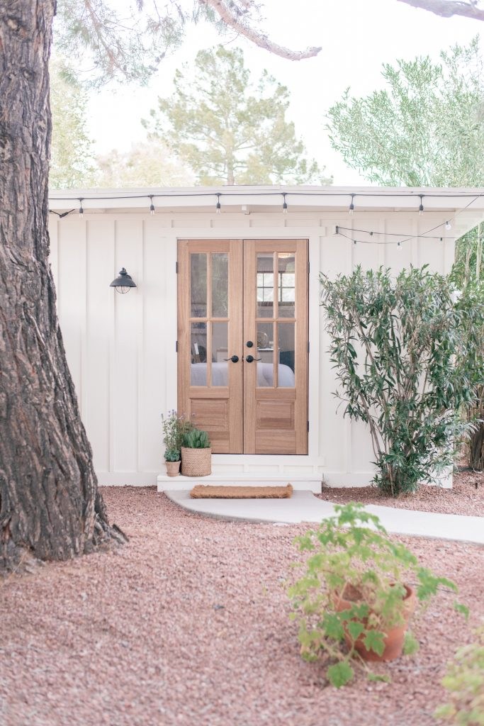Exterior Wood French Doors by popular Phoenix life and style blog, Love and Specs: image of a outdoor office with exterior wood french doors.
