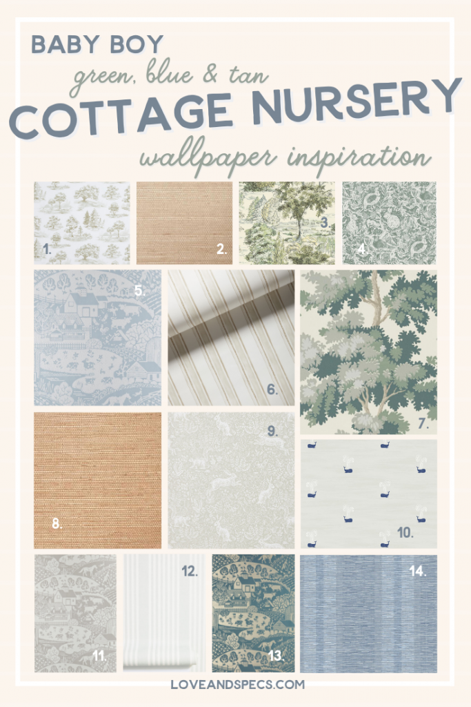 Wallpaper Ideas by popular Phoenix life and style blog, Love and Spec: collage image of blue, green and tan wallpaper ideas.