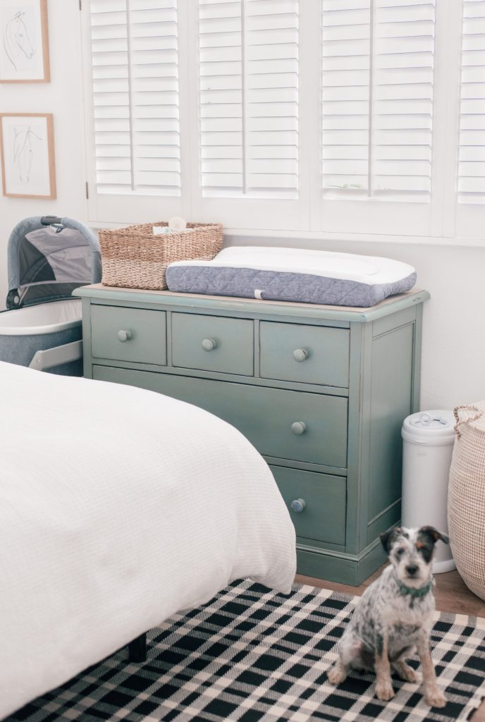 Baby Registry Must Haves by popular Phoenix motherhood blog, Love and Specs: image of a room with a white bed, moss green dresser with a woven seagrass basket and changing pad resting on top, grey bassinet, white diaper pail, and a dog sitting on a black and white plaid rug.