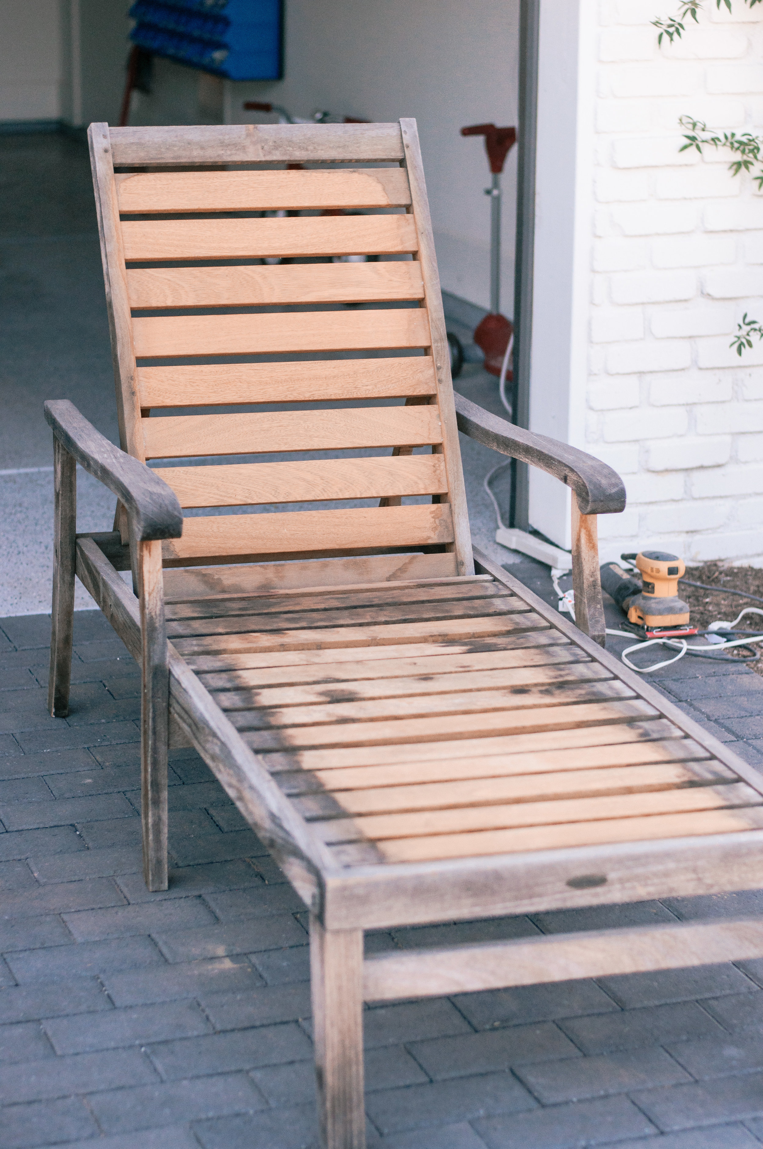 Outdoor Teak Furniture Restoration Tutorial, tips featured by top US home DIY blogger, Love and Specs